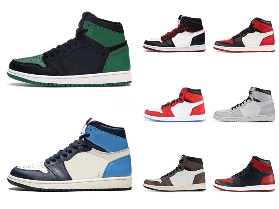Para hombre y zapatos de mujer zapatillas blancas Jumpman 1 1S baloncesto Zapatos azules claros Unc zapatillas de deporte atlético # QA675
