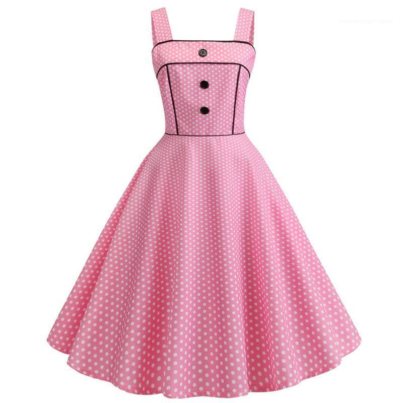 Sexy Frauen Designer-Kleider dünne Sleeveless Punkt-beiläufige Midi-Kleid-Sommer mit eckigem Ausschnitt Leibchen Damen Kleidung