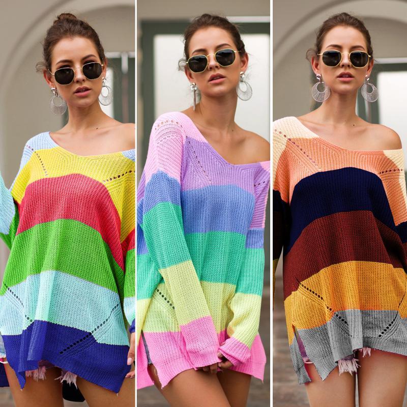 Las mujeres delgadas de punto jersey arco iris suéteres de primavera y verano básico Sudaderas adelgazan la capa