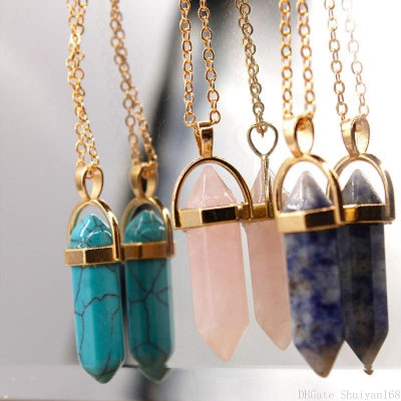 Pendulum Crystal Bullet Pendant Necklaces Hexagonal Column Natural Stone Evil Eye Charm Multilayer Necklace Statement Jewelry Christmas Gift