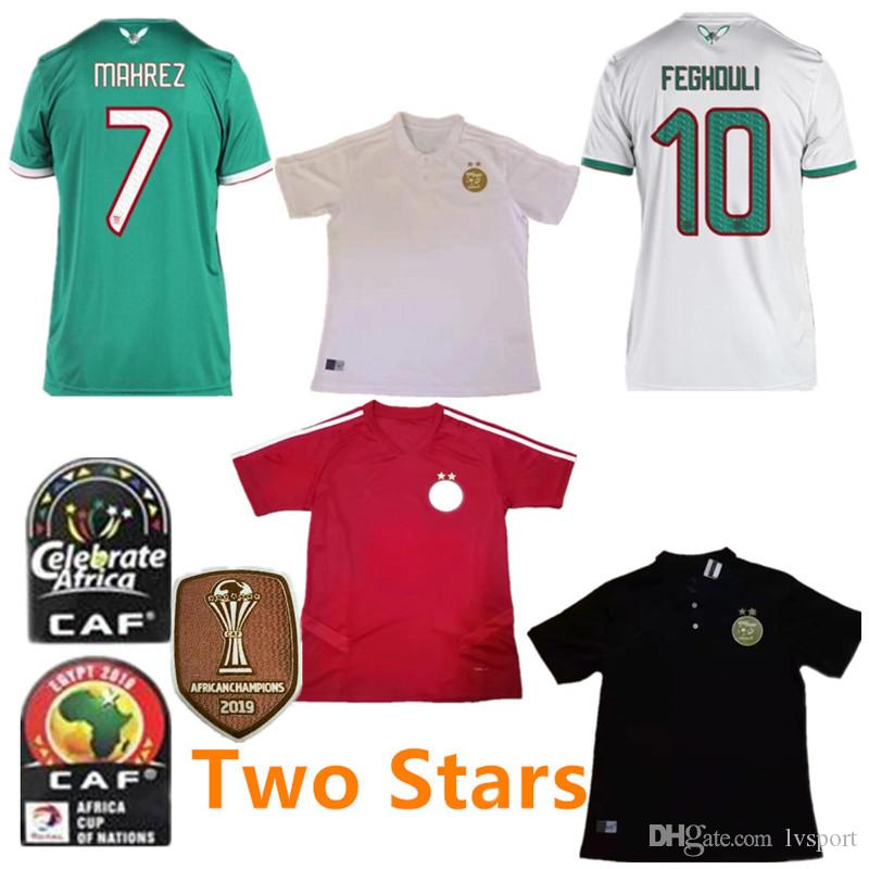 Africa Cup Champions Patch 2019 Algeria #7 MAHREZ Soccer Jersey 19/20 BRAHIMI BELAILI POLO Soccer Shirt ATAL Red Training Football Uniform