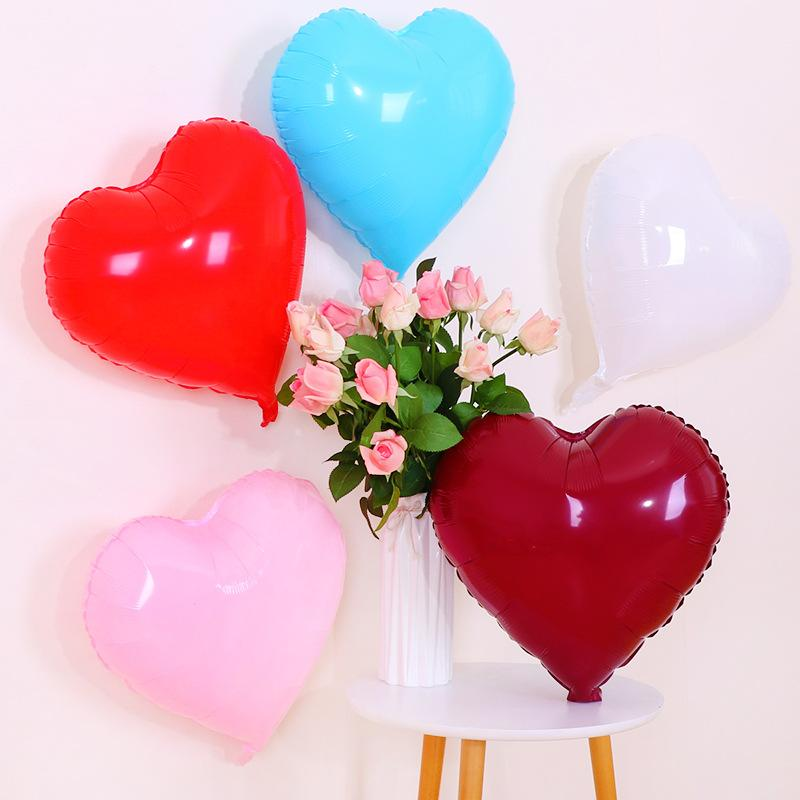 Wedding Supplies Heart Shape Balloon Birthday Party Decoration Heart Aluminum Film Balloon Candy-Colored Net Red Balloon Wholesa