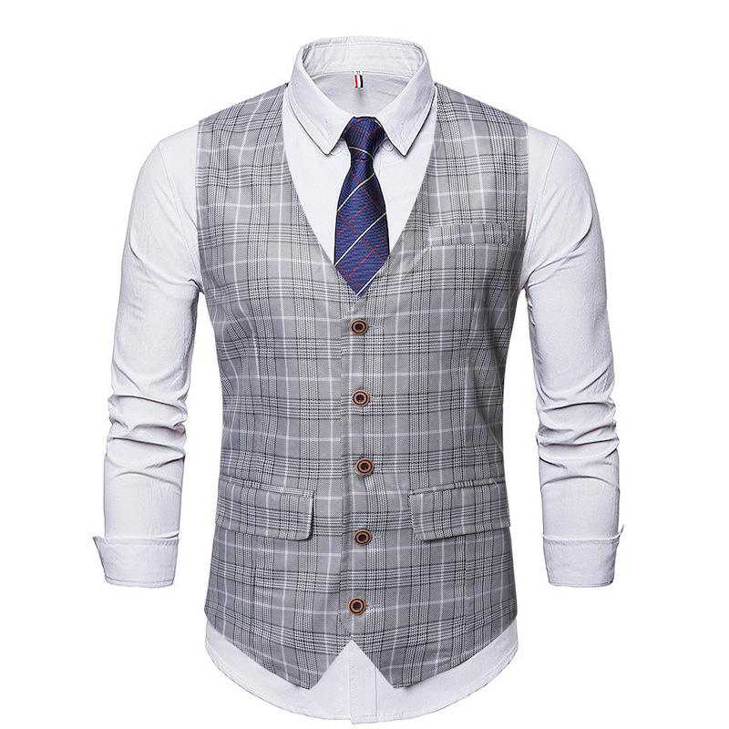 Classic monopetto Suit Vest Men Casual Business Slim Plaid Gilet Gilet Uomo Vintage Wedding Colete sociale Masculino