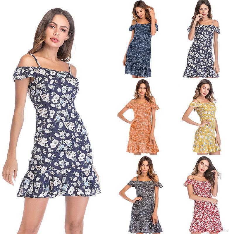 Frauen Designer-Sommer-Blumen-Chiffon- Kleid weibliche Schlinge off-the-Schulter gekräuselten Strand SkirtH2E0H