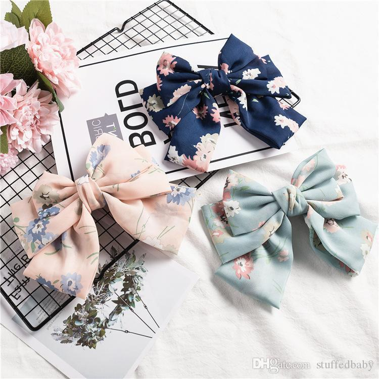 18Colors Kids Girl Print floral Barrettes Baby girl Princess Double Bowknot princess hair clip Children hair accessories