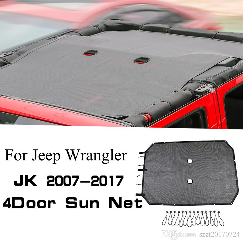 La sombrilla del coche tapa de la azotea la sombrilla del acoplamiento neto para Jeep Wrangler JK 4 Puertas 2007-2017 Auto Accesorios Exterior