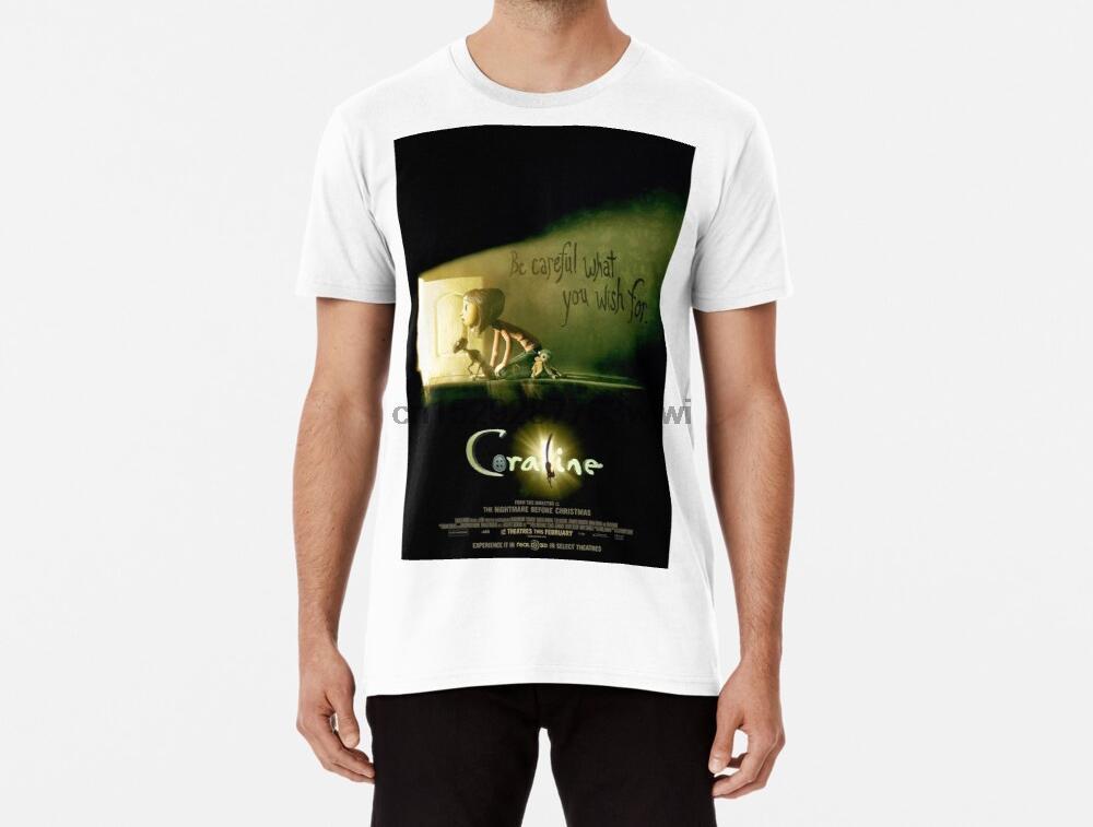 Мужские смешной футболка Коралина плакат tshirs женщин t рубашка