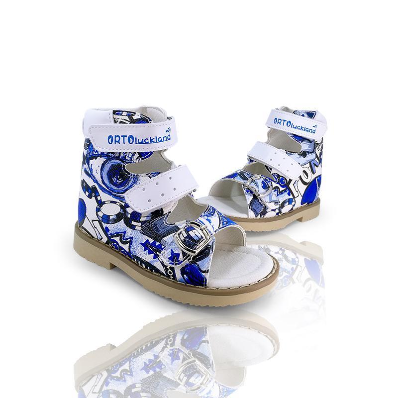 Scarpe in pelle Bambini supporto di arco ortopedici Uomini graffiti di modo di svago di estate Open-toe correttive sandali per Toddler bambini