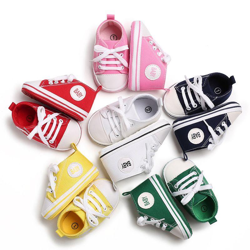 Printemps et Automne 0-1 ans garçons et filles âgés de caoutchouc toile mode bébé antidérapants fond bambin chaussures bébé