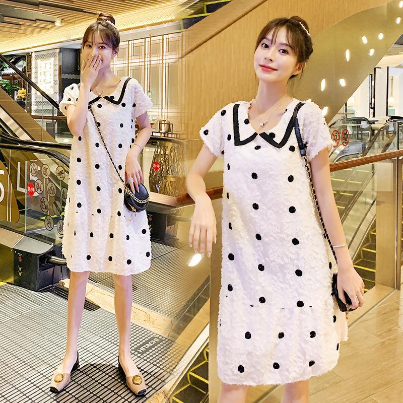 2020 verão polka maternidade nova moda estilo coreano de manga curta lapela mulher grávida vestido do ponto vestir cothes bonito