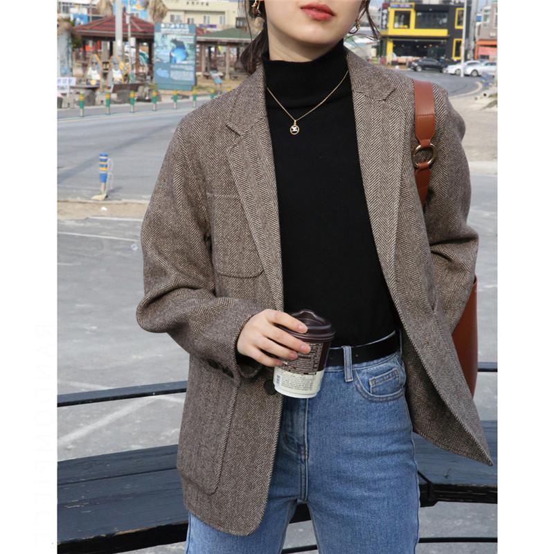 Coréen épais femmes Retro Woollen Veste 2020 Spring New Chevrons Manteau Casual Mode Harajuku Janpanese Femme Vêtements Veste