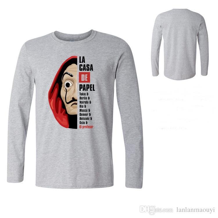 De Papel Money Heist TV T-shirt da uomo maschile Pre-Cotton Tee House of Paper T-Shirt Uomo Tees T Shirt 22 Manica lunga