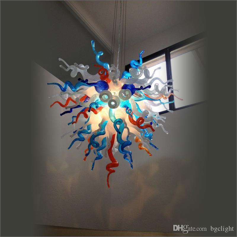 China Factory Outlet Handmade Blown Murano Glass Chandeliers New House Decoration Chihuly Style Modern Blown Flush Mount Pendant Lamp