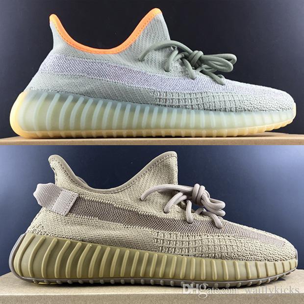 2020 V2 Zapatos Kanye West zapatillas de deporte de Vestido con sésamo Tierra Desert Sage Lundmark Synth Negro estático REFLECTIV arcilla True Form Zebra White Cloud