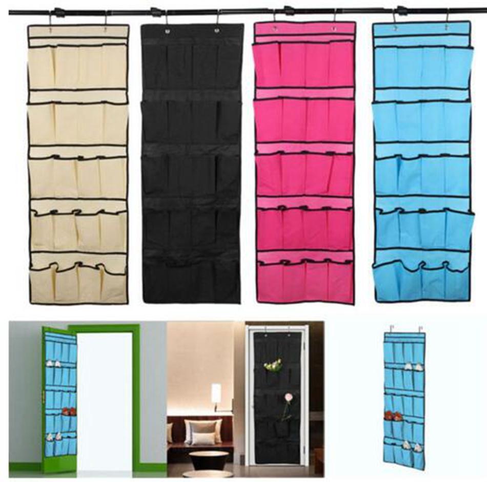 Derrière les portes sac de rangement 20 poches non tissés suspendus chaussures de maison organisant le sac avec des crochets économiseur d'espace organisateur 125 * 45 cm zhao