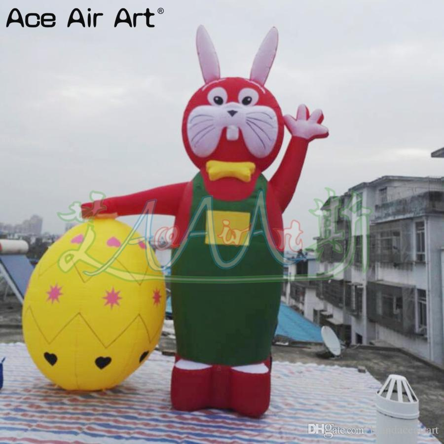 NEW arrival oxford fabric 3m H Inflatable Easter decoration Bunnies with colorful egg UNDER HAND for Advertising On Event