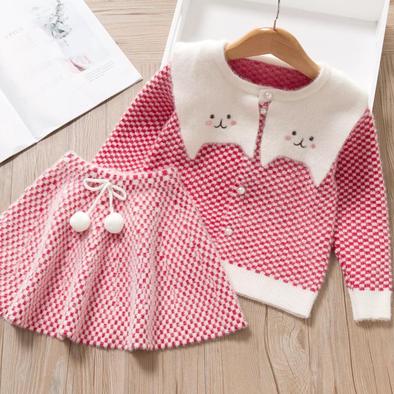 Mädchen-Kleid der neuen Marken-Prinzessin-Kleid-lange Hülsen-Mädchen-Kleider Plaid Nette Partei-Kleid Fliege Kinder Kinder Kleidung Pullover
