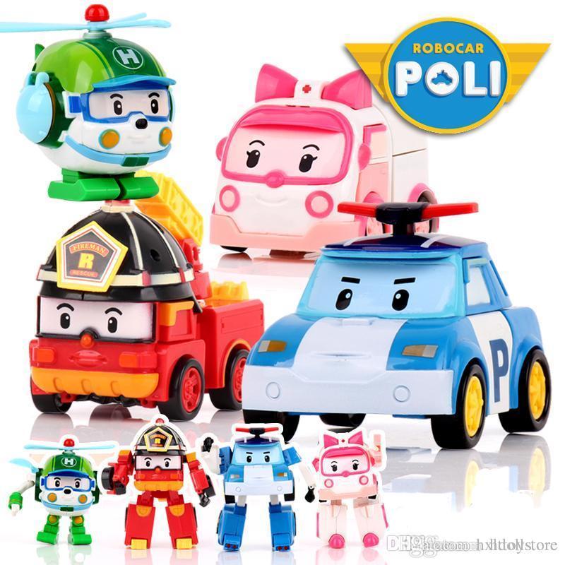 hxldoor 4pcs / set Robocar Poli Corea bambini Giocattoli robot Trasformazione Anime figura di azione giocattoli per i bambini
