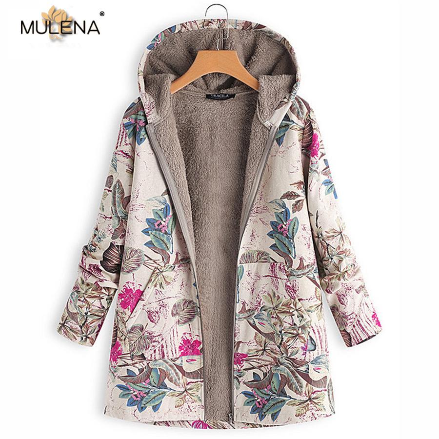 Mulena Print Long Plush Coat Women Floral Pattern Warm Office Lady Hoodies Casual Plus Size Zipper Cotton Coats Female Winter