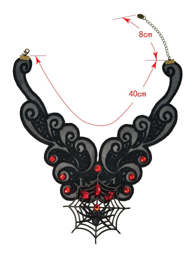 Schwarze Spitze Halskette Spinnennetz Choker für Frauen - Gothic Lolita Statement Halsketten Halloween Kostüm Party Falsche Kragen Zubehör