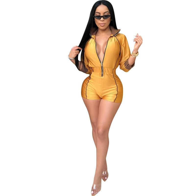 Women Overalls Short Jumpsuits High Waist Three Quarter Sleeve Outfit Casual Playsuit Sexy Fashion Bandage Bandage Rompers