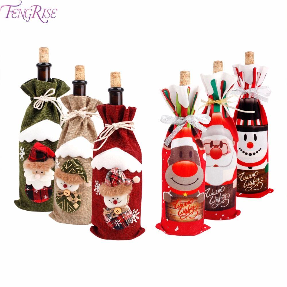 FENGRISE 2018 Christmas Wine Bottle Cover Noel 2018 Ornaments Christmas Gift 2019 Santa Claus Hat Chair Bottle Cover Xmas Decor