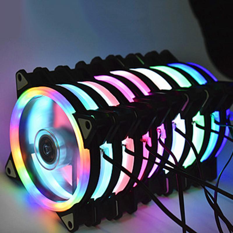 قابل للتعديل الحاسوب مروحة تبريد 120MM عدد المعجبين مروحة PC فان القضية CoolerCase الوهج الأحمر الأزرق الأخضر الأبيض تبريد للكمبيوتر تبريد RGB