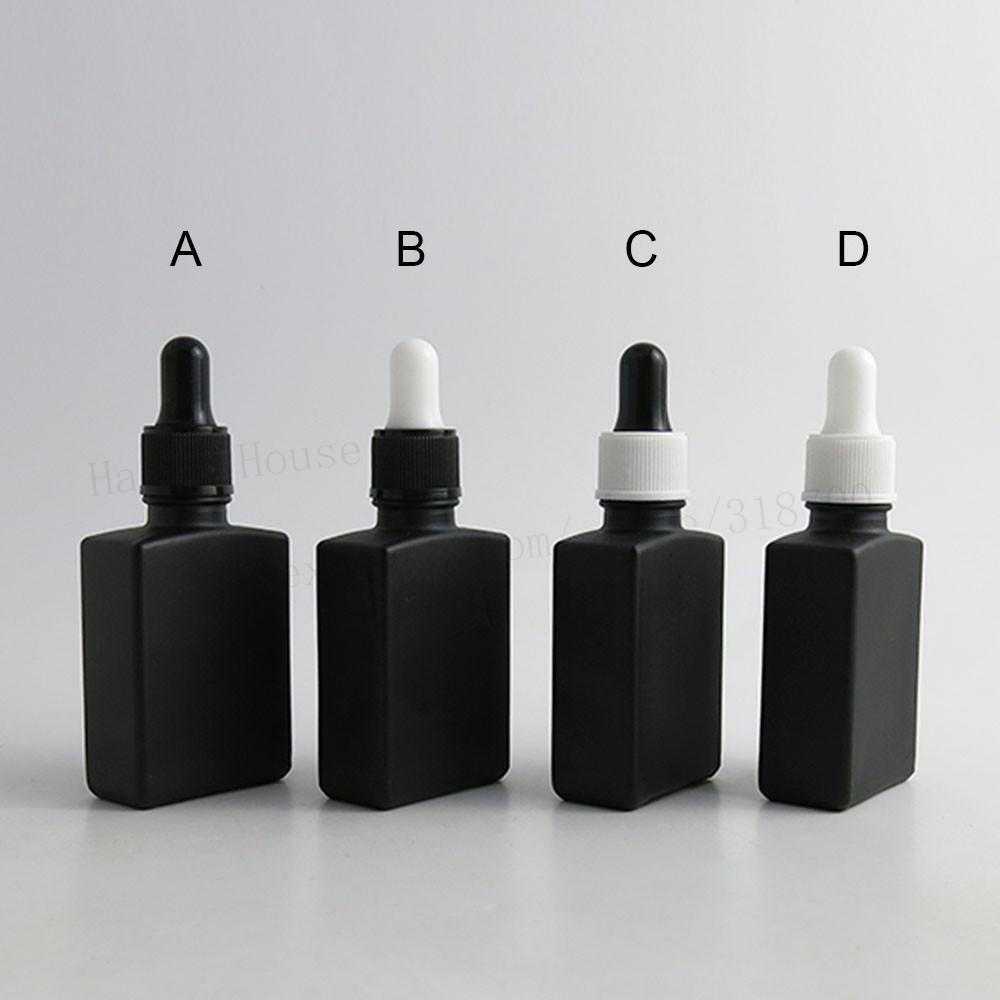 빈 유리 dropper 컨테이너 1온스 200PCS / 로트 30ML 프로스트 블랙 평면 사각형 유리 피펫 병