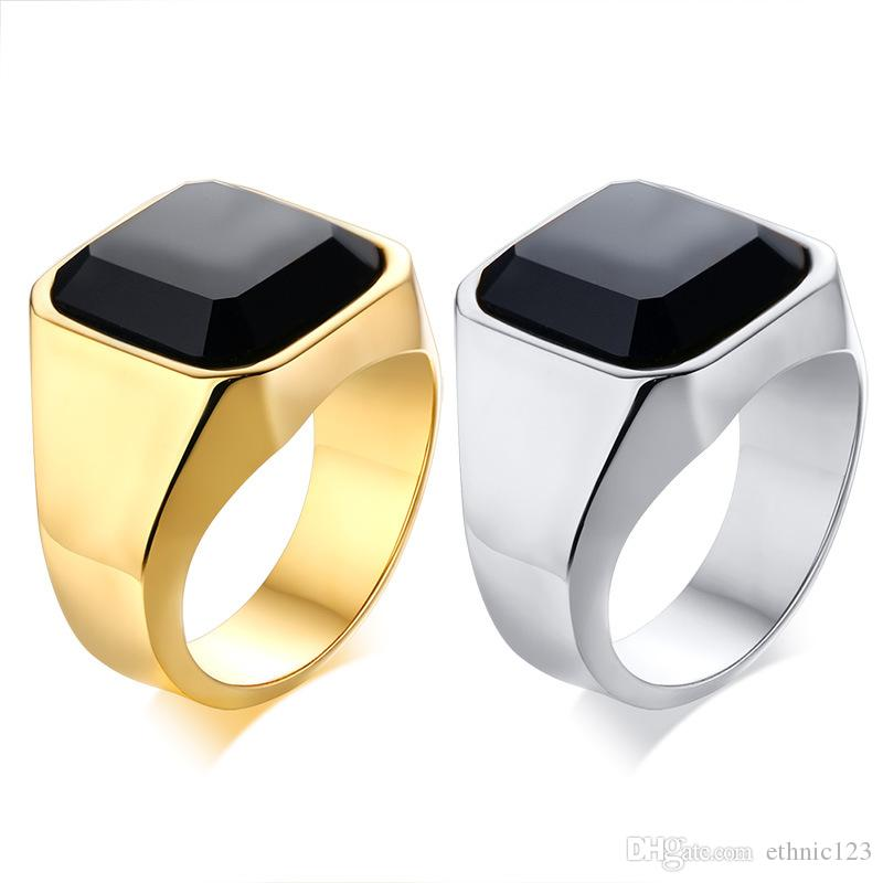 Black Gold Silver Color Fashion Men's Rings Stainless Steel Gemstone Agate Ring Jewelry Gift for Boys Men J207