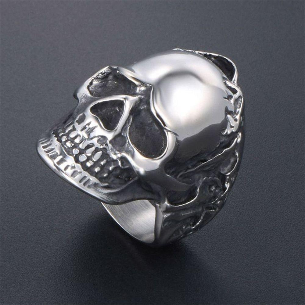 Enfriar cráneo dedo anular Hombres de acero inoxidable anillos motorista del punk rock nunca se descolora joyería regalo para él partido Accesorios 864