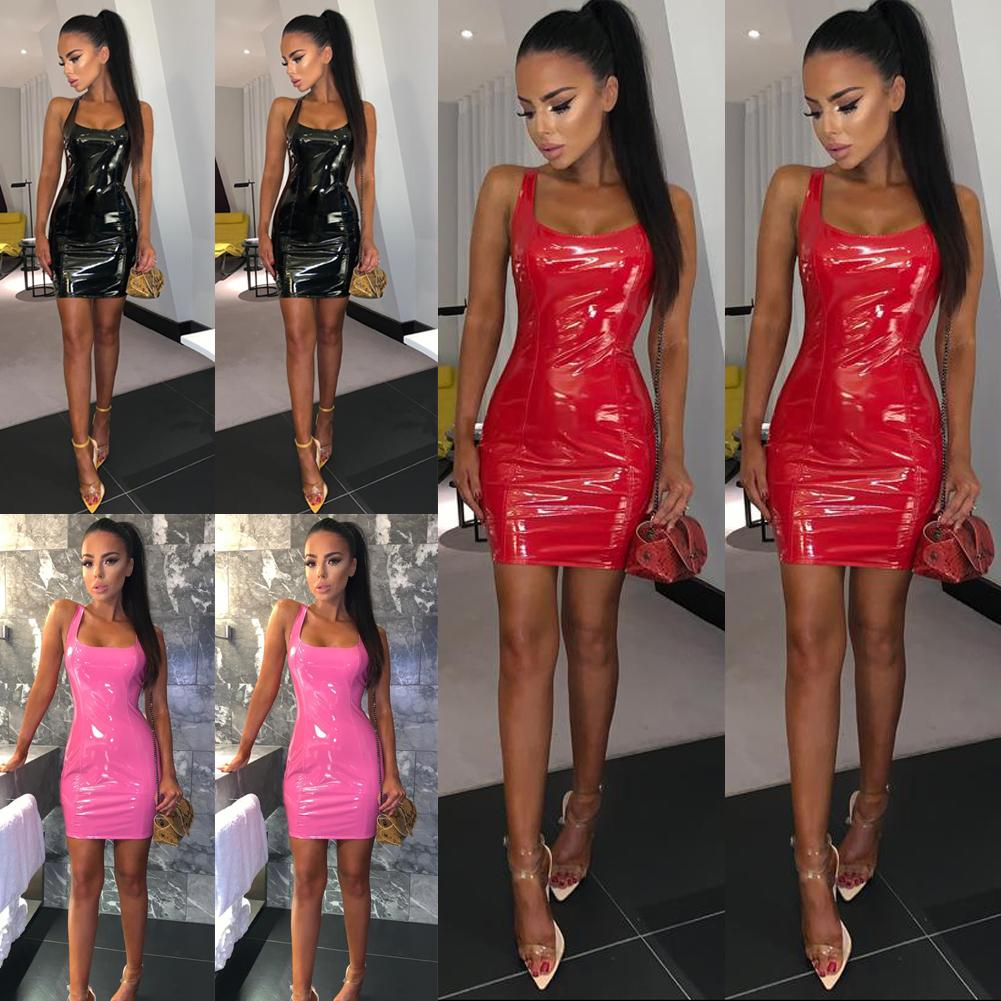 Womens Wet Leather Look Leg Avenue Bodycon Black Mini Party Dress Clubwear