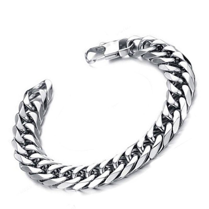 Pulsera para hombre de plata de acero inoxidable cadena de eslabones cubanos en la mano pulseras de punk rock regalos para un hombre pulsera de encanto negro al por mayor