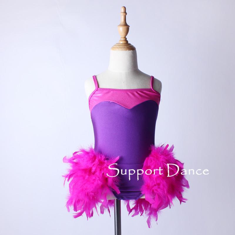 Camisole Feather Latin Dance Dress Toddler Girls Women Fashion Purple Jazz Dancing Costume C287
