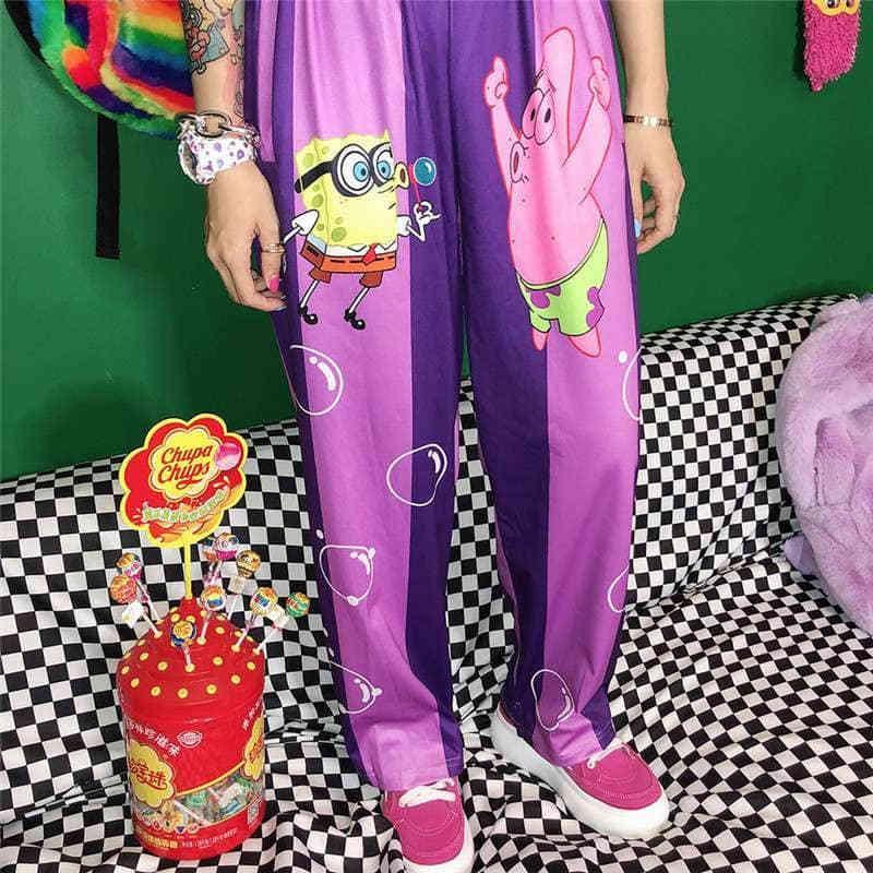 NiceMix nuevo verano mujeres Harajuku lindo ocasional de la historieta de la vendimia rayada pantalones de algodón elástico de la cintura de los pantalones Fema Y200418