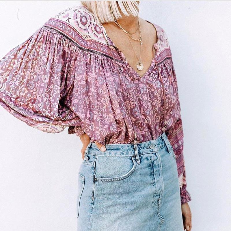Boho Inspird Mulberry blusa de flores con cuello en V con cierre de lazo mujer a largo top de la blusa del verano del resorte mujeres elegantes elegantes de la manga tops 2020 Y200623