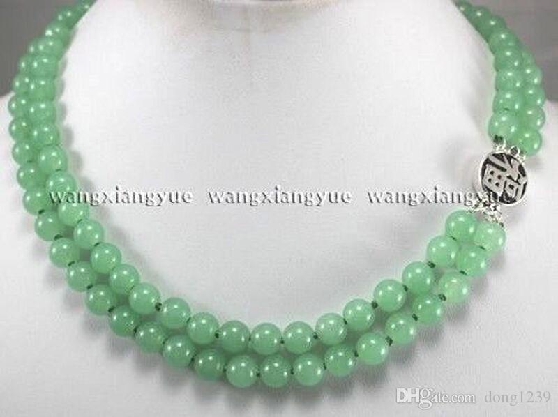 2 rangs 8mm vert jade perles rondes pierres précieuses collier de bijoux fermoir en argent