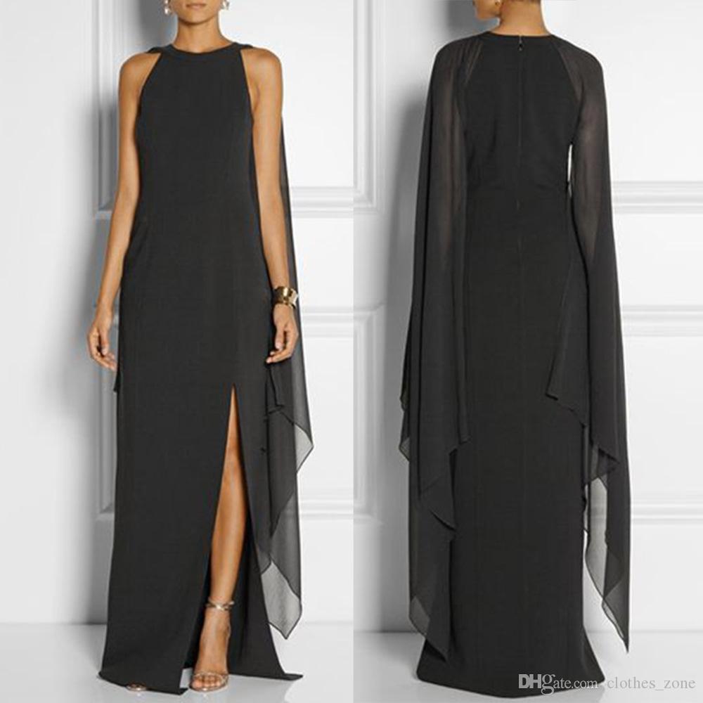 großhandel lange kleider für frauen mit Ärmeln elegante damen  rundhalsausschnitt party hochzeit cocktailkleid patchwork chiffon split  schwarz kleid