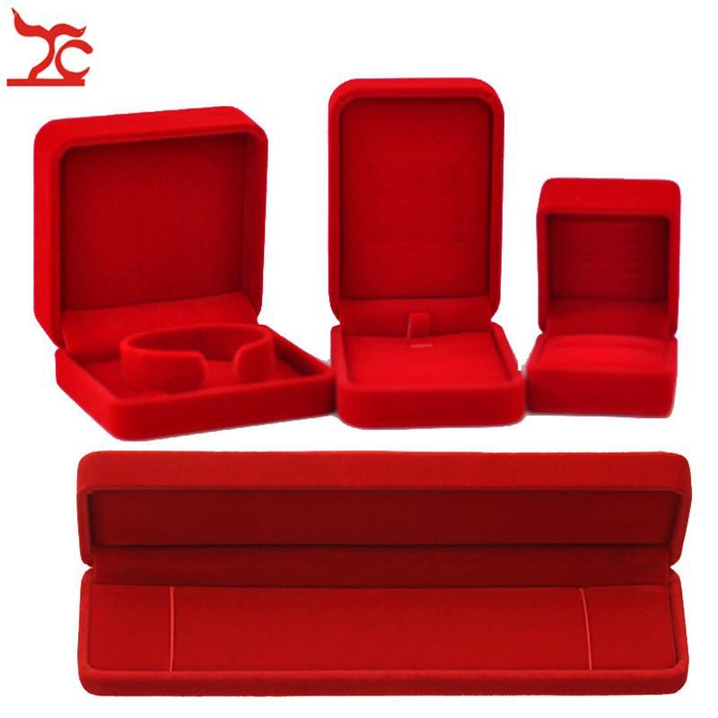 Quality Wedding Jewelry Storage Case Amazing Red Velvet Ring Earrings Necklace Pendant Bracelet Storage Organizer Engagement Gift Box