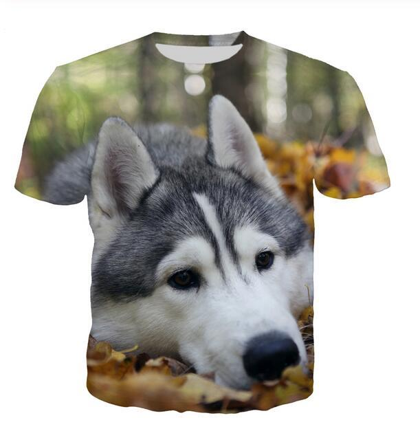 Shiny Short Shirt 3D Husky Green Black Streetwear Unisex Men Tees Printed Animal T T-shirt Sleeves Tshirt Tops Men/Women W094 Rvkfa