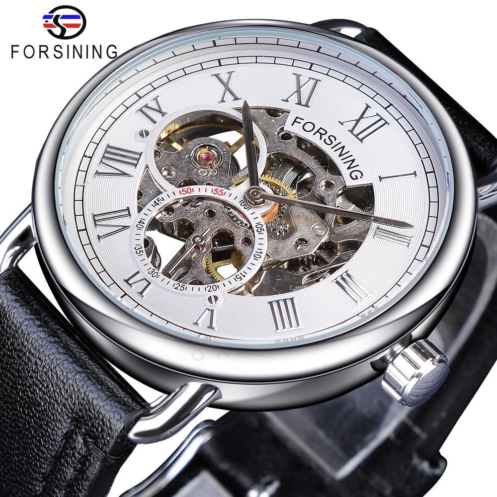 Forsining White Silver Ажурные Clock мужской моды Мужские механические часы Top Brand Luxury черный натуральная кожа водонепроницаемый