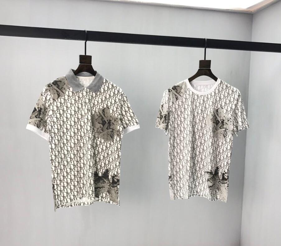 20ss는 짧은 소매 남성 셔츠 태그 폴로 새로운 흰색 티 인쇄 남성 의류 인쇄 티 t 셔츠 별자리 연결 편지 망