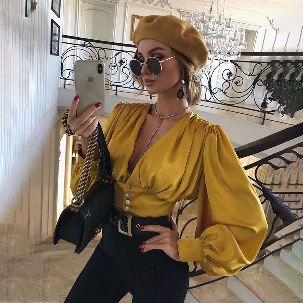 Herbst Büro Dame eleganter Hauch Hülse tops Frauen-T-Shirts wissen einfacher V-Ausschnitt Tops 2020 Frühling Freizeit T-Shirts femme