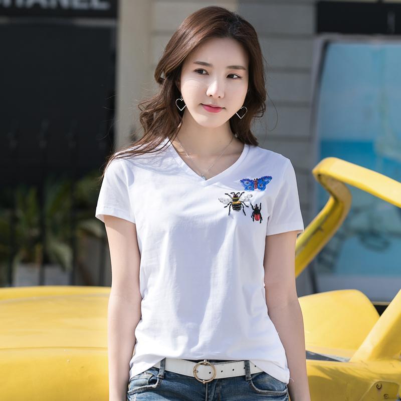Kadın Yaz Yeni Gömlek Moda Sıcak Sondaj Desen Ince T-Shirt Beyaz Renk Pamuk Tees Ücretsiz Kargo T5190605