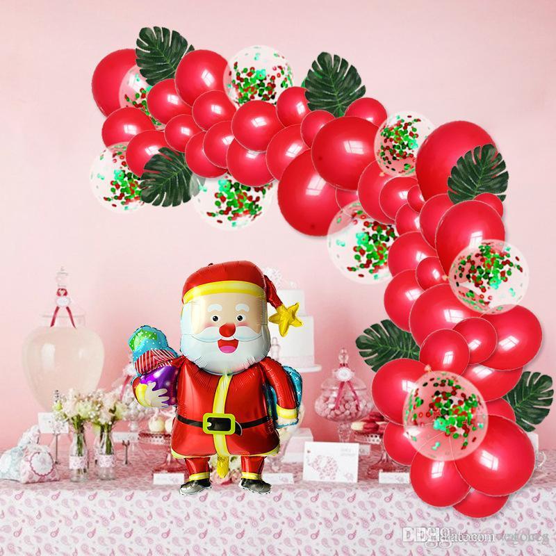 decoración de vacaciones de Navidad globo del partido cadena de guirnalda globo personalidad de la moda de Navidad conjunto de hoja verde decoración multi-estilo