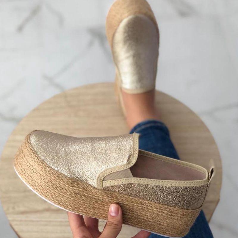 Shujin Женщина Квартиры Круглый Toe Shallow Платформа Белые Кроссовки Обувь Женской Весна Кожа толстого дно вскользь скольжения на Mujer обуви