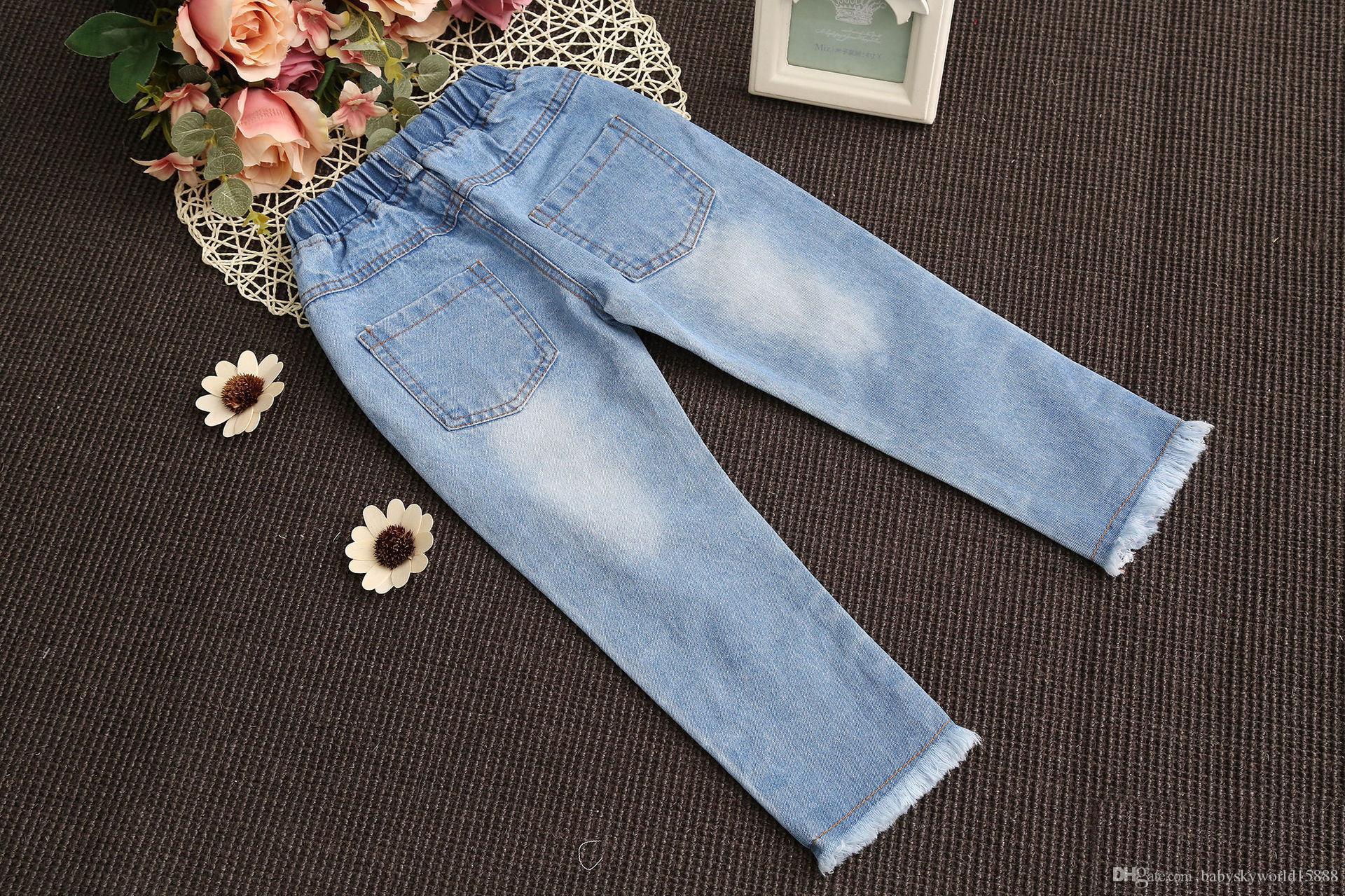 71b3b54f48 ... Niñas bebés Pantalones de mezclilla Labios Lavar Borlas azules Trapos  Moda niños Pantalones Nueva primavera otoño
