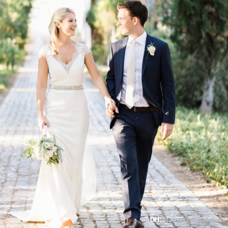 Luxurious Wedding Dresses 2019 V Neck Cap Sleeve Beaded Sheath Simple Elegant Long Bride Dresses Sheer Back Beading Bling Bridal Gowns