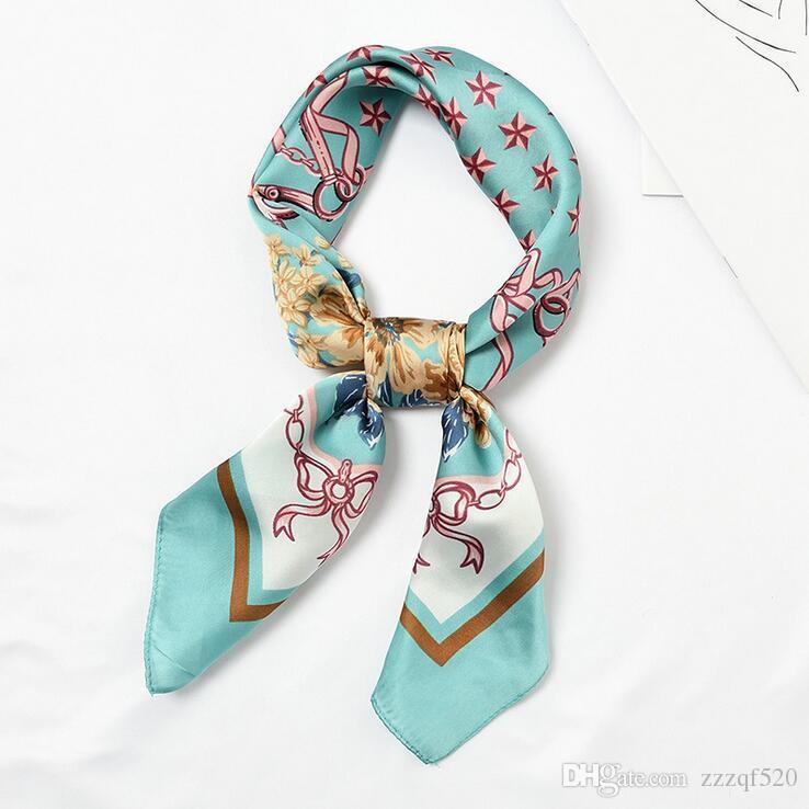 Großhandel 12 stücke 70x70 cm Seidenschal Frauen Blume Kette Druckt Multifunktionale Quadrat Schals Foulard Wrap Kleine Hijab 2019 Neu
