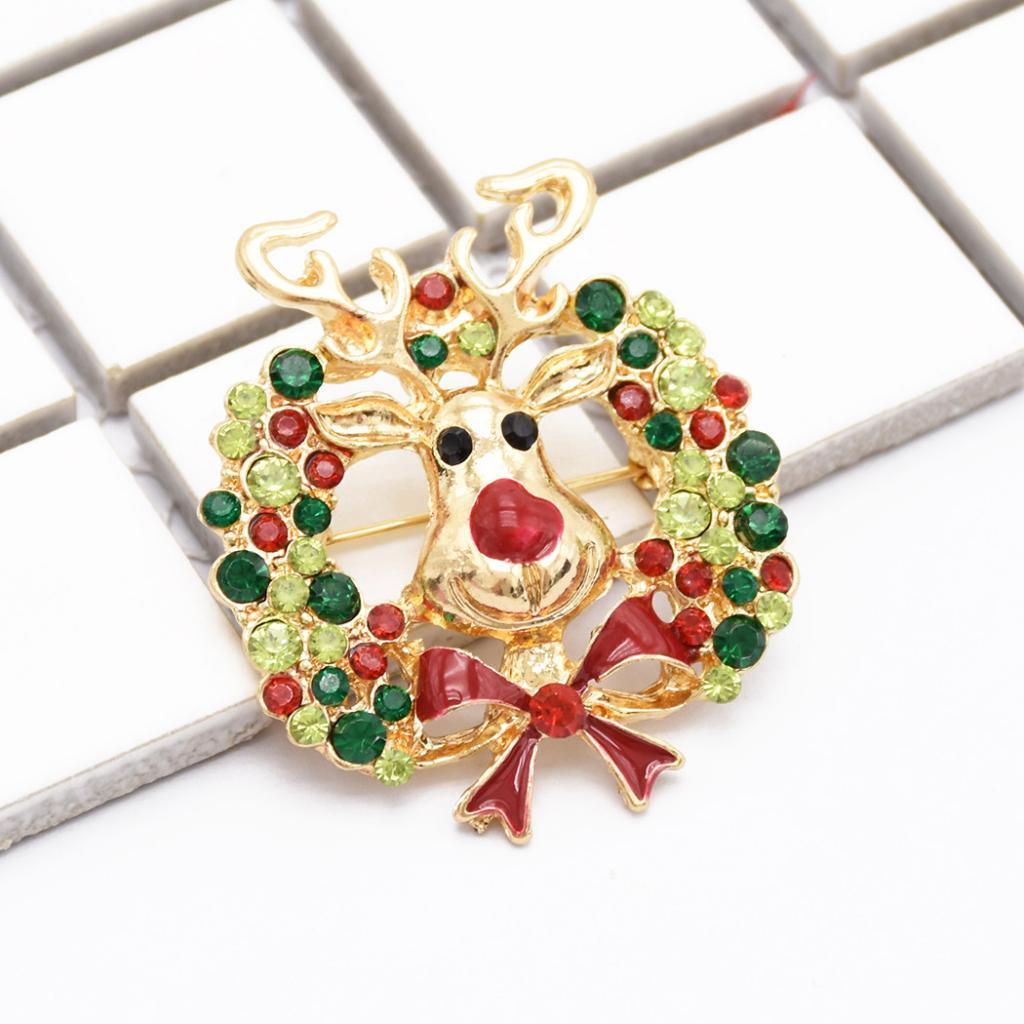 Carino Natale di cristallo Elk Pin Spilla Xmas