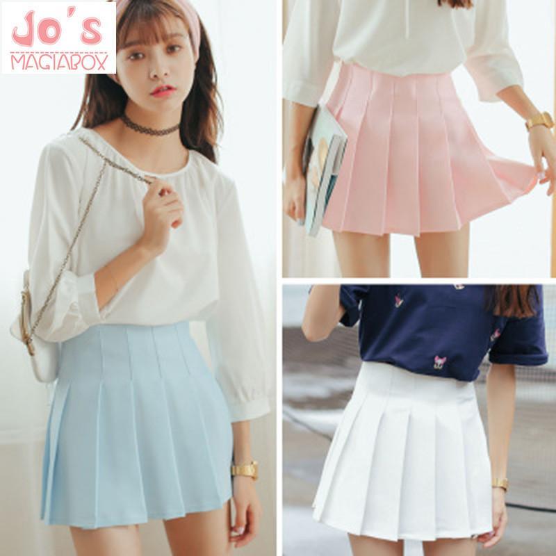 2018 High Waist Lolita Denim Pleated Skirts Harajuku Girls A-line Mini Sailor Skirt Large Size Japanese School Uniform Skirts Y19060301